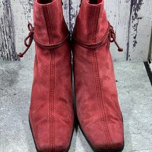 Etienne Aigner Red Suede Leather Bootie